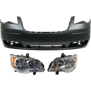 Bumper Cover Headlight For 2008 2010 Chrysler Town And Country Kit Front