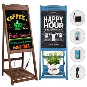 Illuminated Erasable Neon Led Message Menu Sign Writing Board Wooden Easel Stand