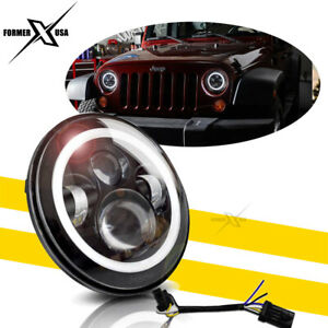 1p 7 inch Round Led Headlight Halo Angle Eyes For Jeep 97 17 Wrangler Jk Lj Tj