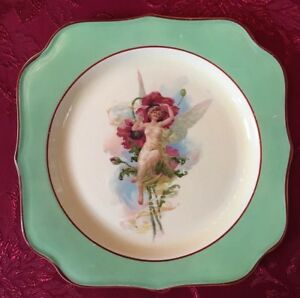 Semi Nude Lady Yellow Fairy Carnation Mcnicol Portrait Plate Vintage Charger