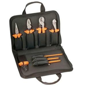 Klein Tools 9 Piece Basic Wire Stripper Cutter Long Nose Kit Insulated Tool Set