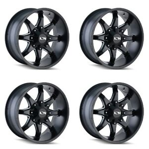 Set 4 17 Ion 181 Black Milled Wheels 17x9 8x6 5 8x170 18mm Ford Chevy Ram 8 Lug