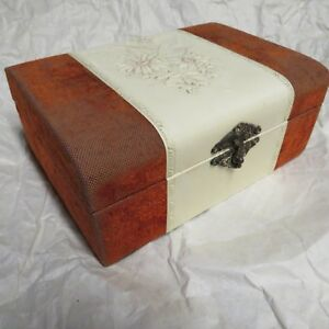 Victorian Dark Amber Velvet Jewelry Trinket Box W Celluloid Accents Antique