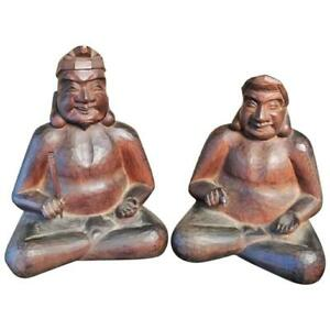 Japanese Gods Prosperity And Business Finely Sculpted Antique Hand Carved Pair