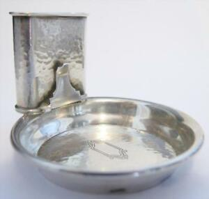 Sterling Silver Hammered Dinner Ashtray Smoking Set By Webster 9 For Sale