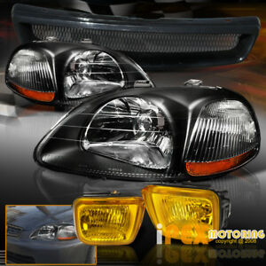 For 96 98 Honda Civic Ek Jdm Black Headlights Yellow Fog Light Type R Grill