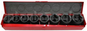 9pc 3 4 Drive metric Air Impact Cr v Steel Socket Set W Metal Case