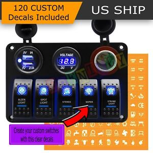 Car Marine Boat 5 gang Waterproof Circuit Blue Led Rocker Switch Panel Breaker