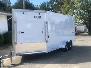 2019 Aluminum 7 X 23 3 Place Enclosed Snowmobile Trailer 7ft Interior Loaded