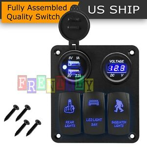 Led Switch Panel 3 Gang Rocker Switch Toggle Blue Led Fog Car Work Light Bar Pod