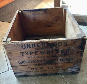 Antique Underwood Typewriter Advertising Shipping Crate Stenciled Box