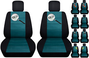 Fits Ford Focus Front Car Seat Cover Black teal W frog cat owl dragonfly more
