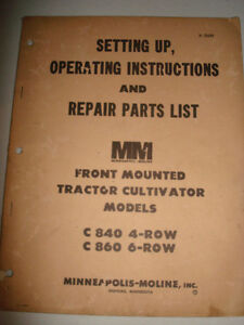 Minneapolis Moline Front Mounted Plow Tractor C840 C860 4 6 Row Farming Manual