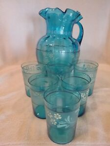 Antique Glass And Enamel Water Pitcher Set Six Glasses Sapphire Blue