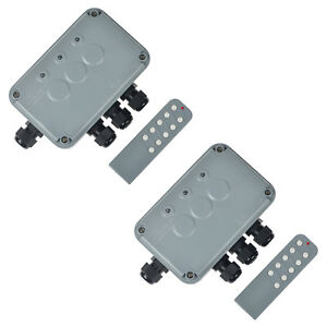 2set Outdoor Wireless Remote Control Power Switch Socket Box 3 way On off Ip66