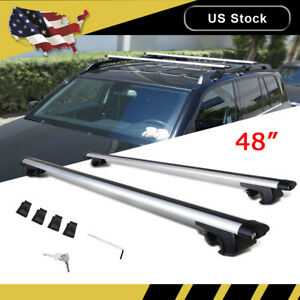 48 Universal Roof Rack Cross Bars Top Luggage Carrier Cargo Frame Rail Car Suv