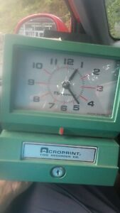 Acroprint 01 1075 411 Model 125nr4 Heavy duty Manual Print Time Recorder no Key