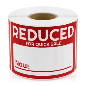 Reduced Now For Quick Sale Stickers Discount Pricing Clearance Labels 10 Rolls