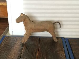 Antique Primitive Folk Art Horse Carving With Early Repair