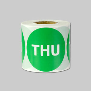 Thursday Days Of The Week Stickers Calendar Schedule Labels 2 Round Lm Green