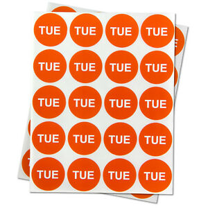 Tuesday Days Of The Week Stickers Calendar Schedule Labels 1 Round Orange