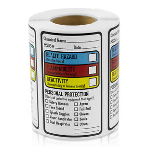 Right To Know Blank Sds Msds Chemical Name Hmig Write in Labels 10 Rolls