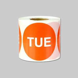 Tuesday Days Of The Week Stickers Calendar Schedule Labels 2 Round Orange