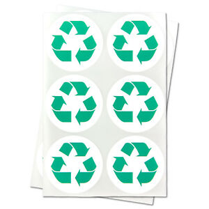 Recycle Recycling Logo Stickers Clean Green Reuse Labels 1 5 Round 10 Rolls