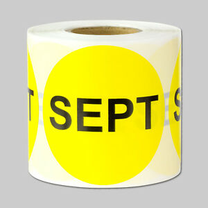 September Months Year Stickers Schedule Date Calendar Monthly Labels 10 Rolls