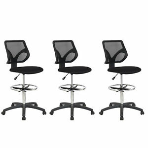 Cool Living Mesh Fixed Upright Adjustable Height Drafting Chair Black 3 Pack