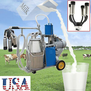 Electric Milker Milking Machine Piston Vaccum Pump Single Barrel Bucket 25l Cows