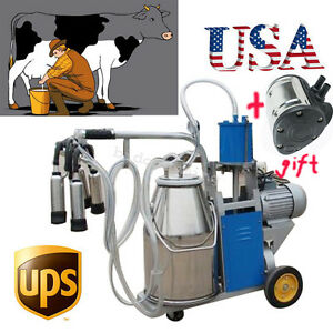Milker Electric Milking Machine F Farm Cow Vaccum Pump Bucket 25l usa Ship gift