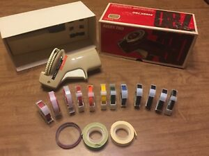 Rotex Vintage Professional Label Maker 15 Tape Rolls works Perfect free Ship