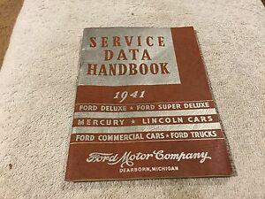 1941 Lincoln ford mercury Service Data Handbook Original Mint