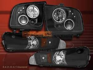 05 09 Ford Mustang Projector Headlights Black Gt Ccfl Twin Halo Led Bumper Light