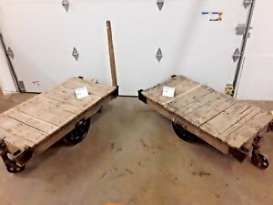 Lineberry Factory Railroad Carts Coffee Table Steam Punk Vintage