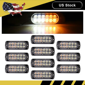 10x Amber white Car 12 Led Emergency Strobe Light Kit Flash Warning Beacon Hazar