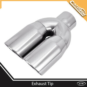 Stainless Steel Exhaust Tip Dual Parallel Angle 2 5 Inlet 3 Outlet 9 5 Long