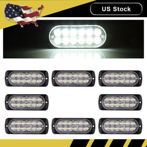 8x White Car 12 Led Emergency Strobe Light Kit Flash Warning Beacon Hazard