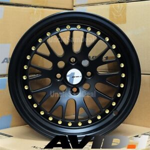 15 15x8 4x100 25 Avid 1 Av 12 Black Mesh W lip Gold Rivet Tuner Wheel Set Of 4