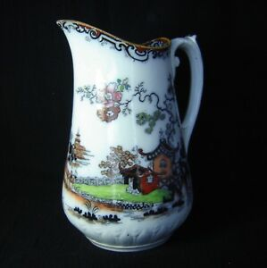 Antique Flow Blue Mulberry Polychrome Ironstone Pitcher Oriental Motif 9 Pagoda