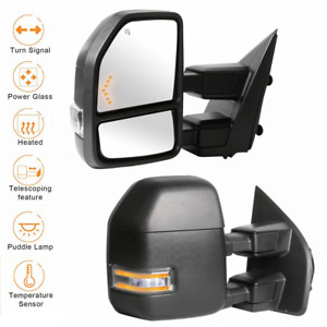 2 Power Heated Led Signal Towing Mirrors W Temp Sensor For 17 20 Ford F250 F350