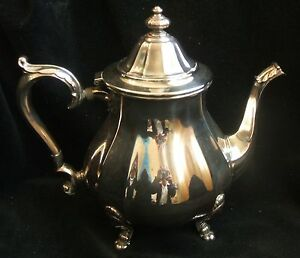 Vintage International Silver Chippendale Silverplate Footed Tea Coffee Pot 6302