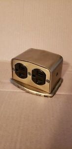 Floor Outlet Brass Surface Mounted Raised Floor Outlet Box With A Brown Outlet