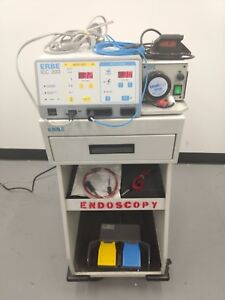 Erbe Icc 200 Electrosurgical Unit With Erbe Endo 100 W Foot switches And Cart