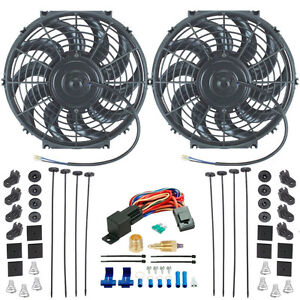 Dual 12 Inch Electric Radiator Cooling Fans High Cfm 1 4 Inch Relay Switch Kit