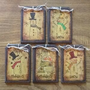 New 5 Handcrafted Wooden Prim Snowman Ornaments Hangtags Gift Tags Setbb2