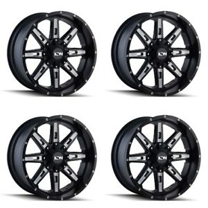 Set 18 Ion 184 Black Milled Rims 18x9 5x4 5 5x5 18mm Jeep Ford Chevy Gmc 5 Lug