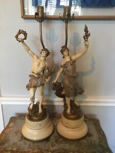 Vintage Art Nouveau Signed Louis Moreau Painted Figural Metal Pair Lamps
