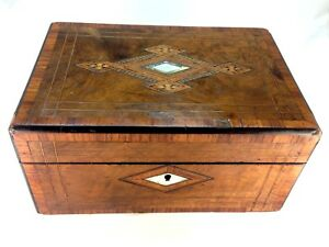 Antique Stunning Victorian Wooden Letter Box Mother Of Pearl And Wood Inlay